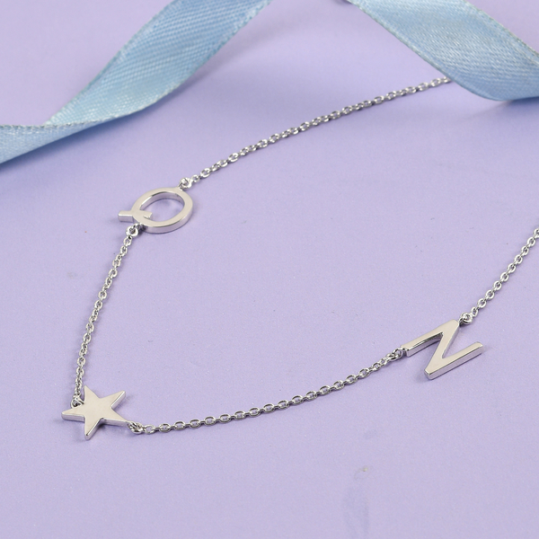 Personalised Two Alphabet + Star, Name Necklace in Silver, Size 18+2 Inch