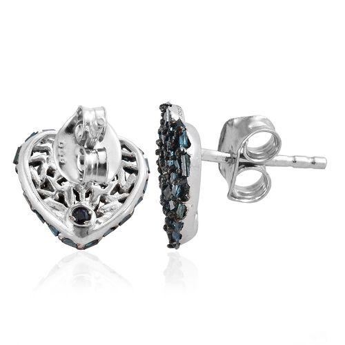 GP Blue Diamond (Bgt), Kanchanaburi Blue Sapphire Heart Stud Earrings (with Push Back) in Platinum Overlay Sterling Silver 0.500 Ct, Number of Diamonds 100.