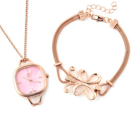 3 Piece Set - STRADA Japanese Movement Pink Dial Water Resistant Watch with Chain (Size 24), Bracele