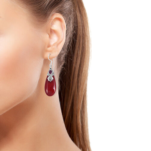 Royal Bali Collection Coral and Rhodolite Garnet Drop Hook Earrings in Sterling Silver 31.400 Ct.