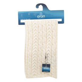 ARAN 100% Pure New Wool Irish Scarf in Cream Colour (Size One)
