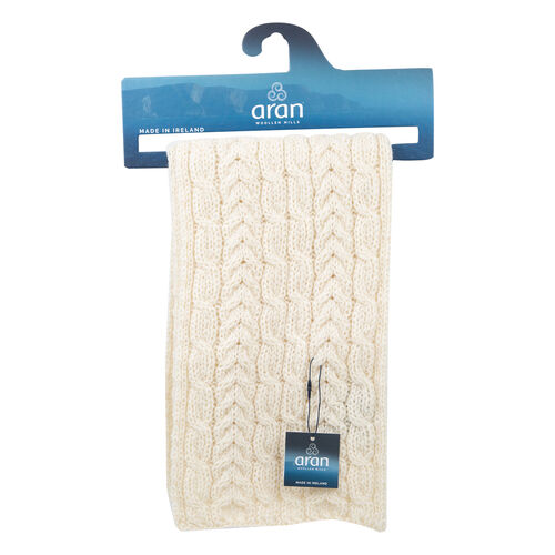 ARAN 100% Pure New Wool Irish Scarf in Cream Colour (Size One, 150x20cm)