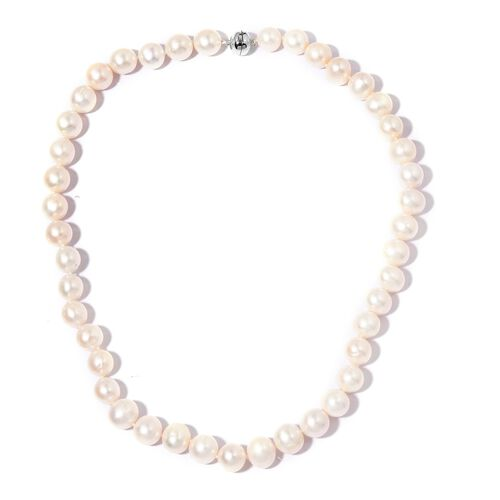 Limited Available Triple High Lustre 14K White Gold AAA Freshwater White Pearl Necklace with Magneti