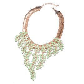 Simulated Green Jade Leaf Waterfall Necklace in Gold Tone 17 with 4 inch Extender