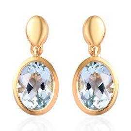 AA Sky Blue Topaz Drop Earrings (with Push Back) in 14K Gold Overlay Sterling Silver 2.75 Ct.