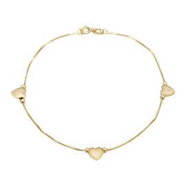 9K Yellow Gold Box Chain Heart Bracelet (Size 7),  Gold Wt. 0.92 Gms