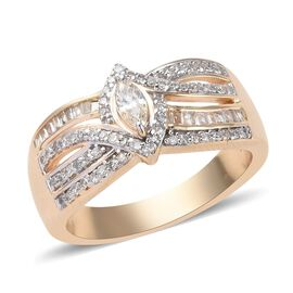 14K Yellow Gold SGL Certified Diamond (Rnd and Mrq) (I-I2 /G-H-I) Ring 0.50 Ct, Gold wt 6.60 Gms