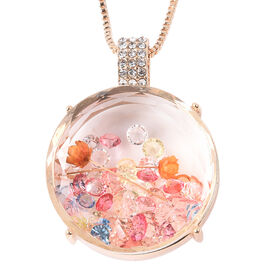 Simulated Diamond and White Austrian Crystal Dried Flower Locket Pendant with Chain in Gold Tone