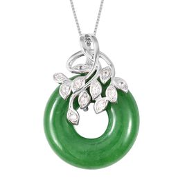 Designer Inspired-Green Jade and Natural White Cambodian Zircon Circle Pendant With Chain (Size 18)