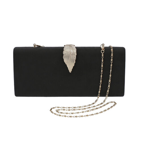 Velvet Clutch Bag with Detachable Shoulder Chain and Metal Leaf Closure (Size 28x4x12 Cm) - Black