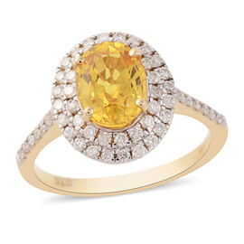 1.93 Ct Loupe Clean AA Chanthaburi Yellow Sapphire and Diamond Halo Ring in 14K Gold 2.98 Grams