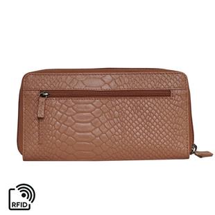 Assots London HAZEL Python Embossed Genuine Leather RFID Zip Around Purse (Size 20x2x10 Cm) - Rust