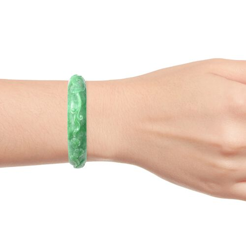 Green Jade Floral Vine and Bird Carved Bangle (Size 7.5) 248.15 Ct.