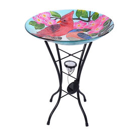 Hand Painted Bird Pattern Glass Birdbath with Solar Light in Multi (Size: 45x45x57cm)