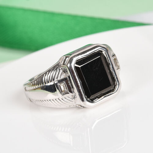 Elite Shungite and White Topaz Magnetic Ring in Platinum Overlay Sterling Silver 4.20 Ct, Silver wt 8.00 Gms