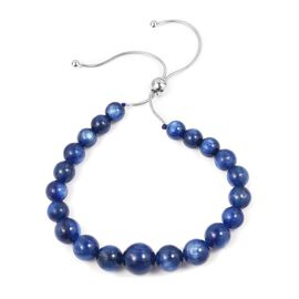 Signature Collection- AAAA Top Lustre Kashmir Blue Colour  Himalayan Kyanite (Rnd) Adjustable Bracelet (Size 6.5 to 8.5) in Rhodium Overlay Sterling Silver