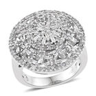 Diamond (Rnd) Cluster Ring (Size N) in Platinum Overlay Sterling Silver 1.000 Ct, Silver wt 7.34 Gms, Number