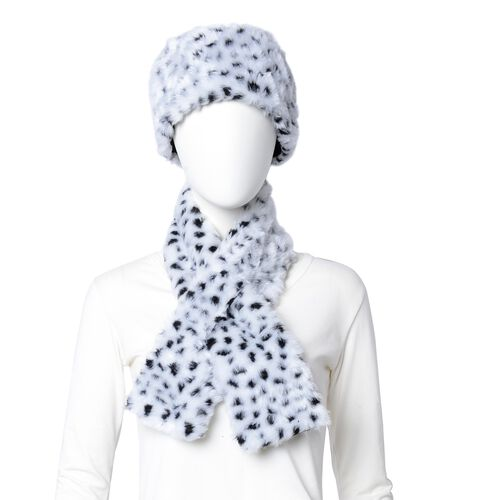 White Colour Leaopard Skin Pattern Faux Fur Scarf and Hat (Size 36.22x22.84x4.53 Cm)