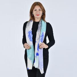 LA MAREY 100% Wool Paisley Pattern Scarf (Size 67x190Cm) - Blue and Green