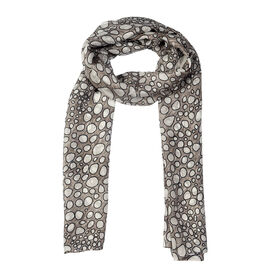 RACHEL GALLEY 100% Mulberry Silk Pebble Design Digital Printed Black and Grey Pareo Scarf (Size 180x