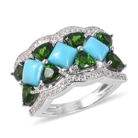4.11 Ct Sleeping Beauty Turquoise and Multi Gemstones Cluster Ring in Sterling Silver 5.73 Grams
