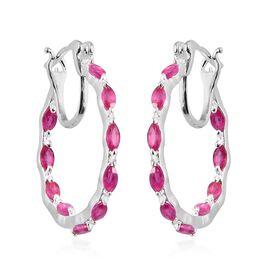 2.25 Ct AAA African Ruby Hoop Earrings in Platinum Plated Silver