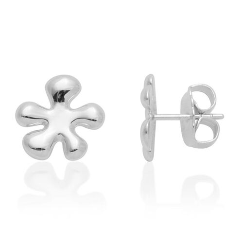 LucyQ Raised Splash Large Stud Earrings (with Push Back) in Rhodium Plated Sterling Silver