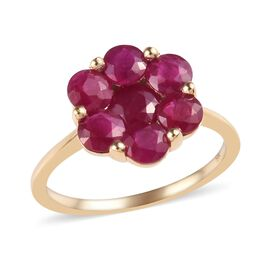 2.50 Ct AAA Burmese Ruby Pressure Set Floral Ring in 9K Gold 2.03 Grams
