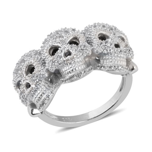 Halloween Collection- Boi Ploi Black Spinel (Rnd), Natural White Cambodian Zircon Skull Ring in Rhodium Overlay Sterling Silver 2.180 Ct, Silver wt 6.54 Gms, Number of Gemstone 138