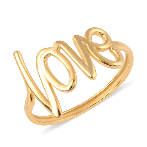 Italian Made- 9K Yellow Gold Love Ring