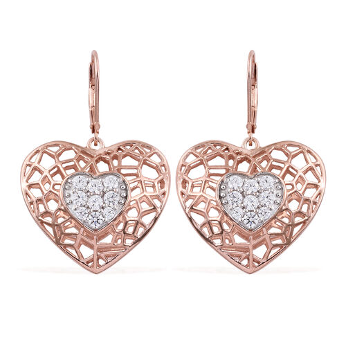 J Francis - Rose Gold Overlay Sterling Silver Heart Lever Back Earrings Made with SWAROVSKI ZIRCONIA