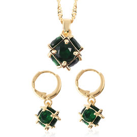 2 Piece Set - Green Austrian Crystal Pendant with Chain (Size 20 with 2 inch Extender) and Lever Bac