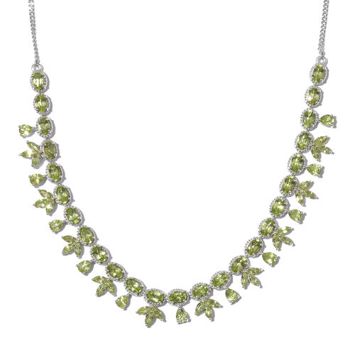 Designer Inspired-Hebei Peridot (Mrq and Ovl) Necklace With Chain (Size 20 with 2 inch Extender) in Platinum Overlay Sterling Silver 21.250 Ct, Silver wt 21.21 Gms.