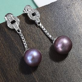 Purple Edison Pearl and Natural Cambodian Zircon Dangle Earrings (with Push Back) in Platinum Overlay Sterling Silver