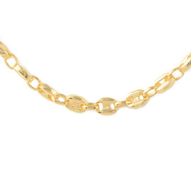Italian Made Marinar Link Chain Necklace in Gold Plated Sterling Silver 16.30 Grams 20 Inch