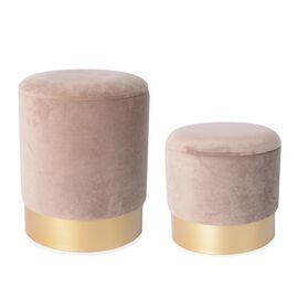Set of 2 - Wooden Stool with Storage Box (Size L 35x35x44 Cm), (Size S 30x30x33) - Sand Tone