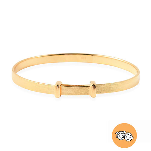 Yellow Gold Overlay Sterling Silver Adjustable Shiny Bangle (Size 5), Silver wt 11.60 Gms