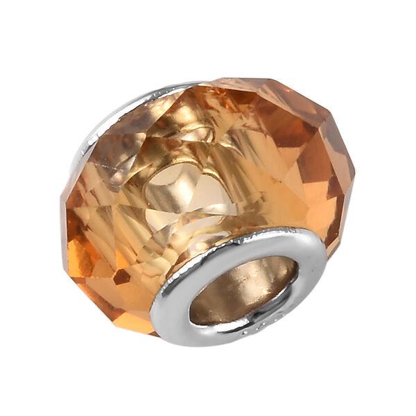 Charmes De Memoire Citrine Murano Style Glass Charm in Platinum Overlay Sterling Silver