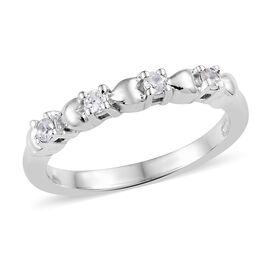Natural Cambodian Zircon (Rnd) Ring in Platinum Overlay Sterling Silver 0.250 Ct.