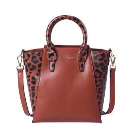 Sencillez 100% Genuine Leather Leopard Printed Handbag with Detachable Shoulder Strap (Size 23x13x26
