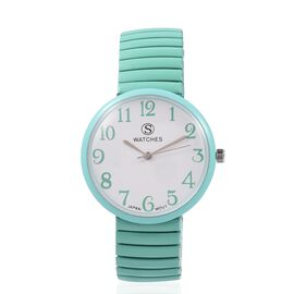 STRADA Japanese Movement Water Resistant Stretchable Watch with Mint Colour Strap