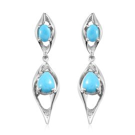 Arizona Sleeping Beauty Turquoise (Ovl, Pear) Earrings (with Push Back) in Platinum Overlay Sterling
