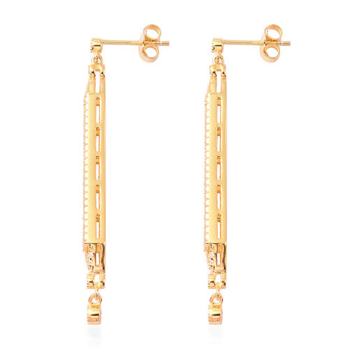 Simulated Emerald and Simulated Diamond Dangle Earrings (with push back) in Yellow Gold Overlay Sterling Silver