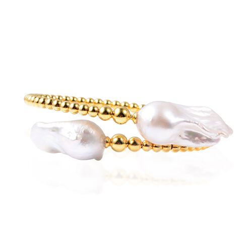 White Baroque Pearl Bead Design Bangle in Gold Plated Sterling Silver 7.78 Grams 7.5 Inch