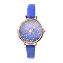 GENOA Japanese Movement Water Resistant Watch with AB Swarovski Crystals in Rose Gold Tone with Blue