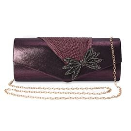 Crystal Bowknot Design Clutch with Chain Strap and Magnetic Flap Closure (Size 26x11x5.5 Cm) - Dark