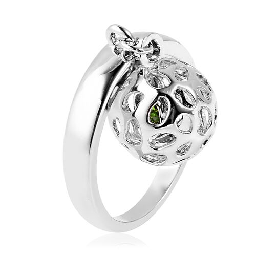 RACHEL GALLEY Russian Diopside Lattice Globe Ring in Rhodium Overlay Sterling Silver