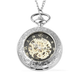GENOA Automatic Mechanical Skeleton Pocket Watch with Chain (Size 30) in Silver Tone