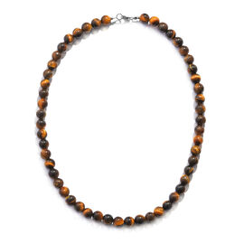 One Time Deal- Yellow Tiger Eye Necklace (Size 18) in Sterling Silver 220.000 Ct.