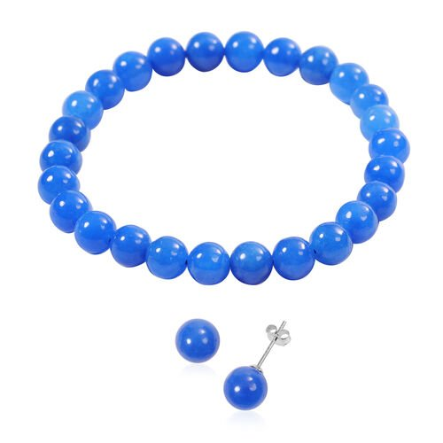 2 Piece Set -  Blue Jade Stretchable Bracelet (Size 7.5) and Stud Earrings (with Push Back) in Sterl